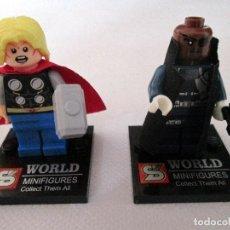 Reproducciones Figuras de Acción: MINIFIGURAS THOR Y NICK FURIA. VENGADORES. MARVEL SUPER HEROES. TIPO LEGO.. Lote 64807679