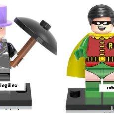 Reproducciones Figuras de Acción: LOTE MINIFIGURAS PINGÜINO Y ROBIN DE LA SERIE BATMAN DE DC COMICS. COMP. LEGO. NUEVAS EN SU BOLSA!. Lote 67758405