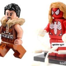 Reproducciones Figuras de Acción: LOTE MINIFIGURAS KRAVEN EL CAZADOR Y SPIDER GIRL SPIDERGIRL. COMP. LEGO. NUEVAS EN SU BOLSA!. Lote 67759057