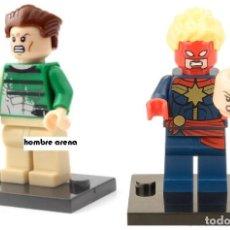Reproducciones Figuras de Acción: LOTE MINIFIGURAS HOMBRE DE ARENA Y MISS MARVEL. COMP. LEGO. NUEVAS EN SU BOLSA!. Lote 67760233