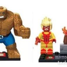 Reproducciones Figuras de Acción: LOTE MINIFIGURAS 4 FANTASTICOS: LA COSA Y ANTORCHA HUMANA. COMP. LEGO. NUEVAS EN SU BOLSA!. Lote 67761273