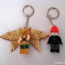 Reproducciones Figuras de Acción: MINIFIGURAS 2 LLAVEROS KEYCHAIN HOMBRE HALCON Y MOTORISTA FANTASMA. SUPERHEROES. TIPO LEGO. . Lote 72299499