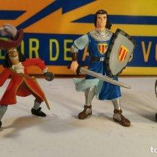 Reproducciones Figuras de Acción: 3 FIGURAS - CAPITAN TRUENO, YOLANDA - CAPITAN GARFIO, BULLYLAND- CABALLERO CRUZ DE MALTA. Lote 147674550