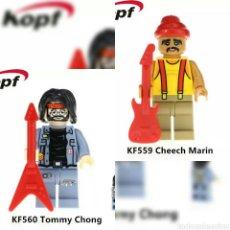 Reproducciones Figuras de Acción: TOMMY Y CHEECH MINIFIGURAS COMPATIBLES MUSIC. Lote 149258586