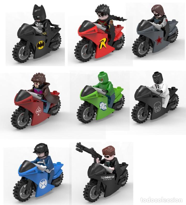 LOTE DE 8 FIGURAS COMPATIBLES CON LEGO SUPER HEROES CON MOTOCICLETAS (WINTER SOLDIER, ROBIN, BLACK M (Juguetes - Reproducciones Figuras de Acción)