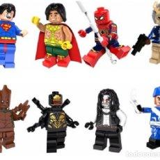 Reproducciones Figuras de Acción: LOTE DE 8 FIGURAS COMPATIBLES CON LEGO SUPERMAN, EL DORADO, SPIDER-MAN, GILL MONGOL BLACK PANTHER, G. Lote 151463782