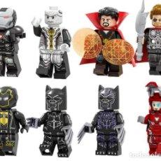 Reproducciones Figuras de Acción: LOTE DE 8 FIGURAS COMPATIBLES CON LEGO PEPPER POTTS, PANTERA NEGRA, RONIN, THOR, DOCTOR STRANGE, EBO. Lote 151666806