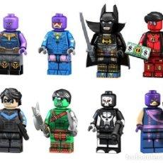 Reproducciones Figuras de Acción: LOTE DE 8 FIGURAS COMPATIBLES CON LEGO THANOS, CENTINELA, BATMAN WARRIOR, DEADPOOL, DICK GRAYSON, HU. Lote 151666830