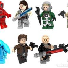 Reproducciones Figuras de Acción: LOTE DE 8 FIGURAS COMPATIBLES CON LEGO STAR WARS (ROBOT DRON, REY, A-WING PILOT, MAX REBO, HAN SOLO,. Lote 151666906