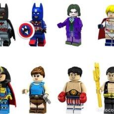 Reproducciones Figuras de Acción: LOTE DE 8 FIGURAS COMPATIBLES CON LEGO SUPER HEROES (CAPITAN AMERICA CON BATMAN, JOKER, POWER GIRL, . Lote 151666930