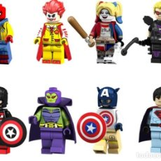 Reproducciones Figuras de Acción: LOTE DE 8 FIGURAS COMPATIBLES CON LEGO SUPER HEROES (SPIDERMAN, JOKER, HARLEY QUINN, HAWKEYE, CAPITA. Lote 151666966