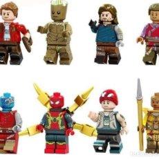 Reproducciones Figuras de Acción: LOTE DE 8 FIGURAS COMPATIBLES CON LEGO SUPER HEROES (STAR LORD, GROOT, WINTER SOLDIER, WONG, NEBULA,. Lote 151666974