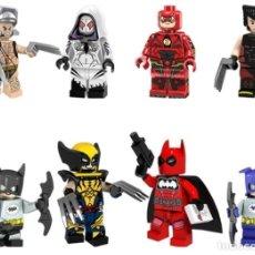 Reproducciones Figuras de Acción: LOTE DE 8 FIGURAS COMPATIBLES CON LEGO SUPER HEROES (WOLVERINE X-MEN, GWEN STACY, THE FLASH, BATMAN . Lote 151666994
