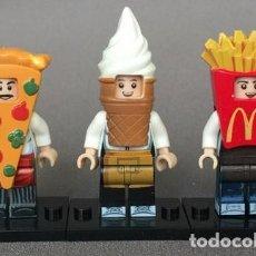 Reproducciones Figuras de Acción: LOTE DE 3 FIGURAS COMPATIBLES CON LEGO DE PIZZA, HELADO, PATATAS. Lote 153428702