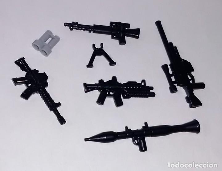 LOTE NUEVO - ACCESORIOS MILITARES Y ARMAS MODERNAS PARA MINIFIGURAS LEGO Y BRICKS CUSTOM COMPATIBL (Juguetes - Reproducciones Figuras de Acción)
