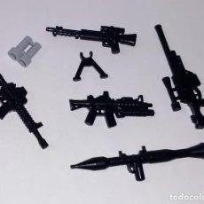 Reproducciones Figuras de Acción: LOTE NUEVO - ACCESORIOS MILITARES Y ARMAS MODERNAS PARA MINIFIGURAS LEGO Y BRICKS CUSTOM COMPATIBL. Lote 201983641