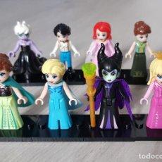 Reproducciones Figuras de Acción: 8 FIGURAS PRINCESAS DISNEY. COMPATIBLE LEGO, ELSA, ANNA, MALEFICA, URSULA, PRINCIPE ERIC, ARIEL AURO. Lote 207132113