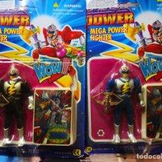 Reproducciones Figuras de Acción: 2 BLISTER FIGURA MEGA POWER FIGTHER TÍPO POWER RANGER VERSIÓN CHINÁ COLECCIONABLE AÑO 1994. Lote 245991475