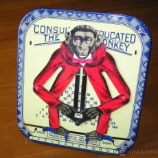 Juguetes antiguos de hojalata: MONO MULTIPLICADOR CALCULADORA MECANICA VINTAGE CONSUL THE EDUCATED MONKEY. Lote 97372254