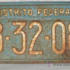 Coches y Motocicletas: PLACA MATRICULA COCHE - DISTRITO FEDERAL 1958 - 1959 / VER FOTOS.. Lote 27521255
