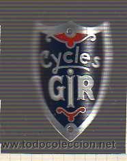 PLACA O CHAPA -MARCA DE BICICLETA -CYCLES GIR (Coches y Motocicletas - Repuestos y Piezas (antiguos y clásicos))