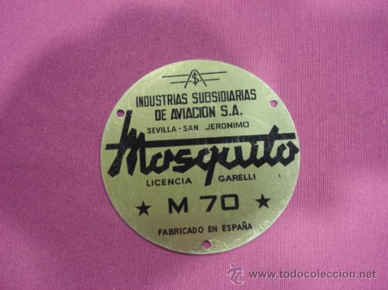 CHAPA MOTO MOSQUITO M 70, DE UNOS 10 CM DIAMETRO. (Coches y Motocicletas - Repuestos y Piezas (antiguos y clásicos))