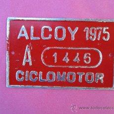Coches y Motocicletas: CHAPA METALICA CICLOMOTOR ALCOY 1975. Lote 29326779