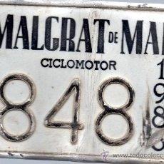 Coches y Motocicletas: CHAPA MATRICULA DE MOTO MALGRAT DE MAR CICLOMOTOR 198. Lote 31077805
