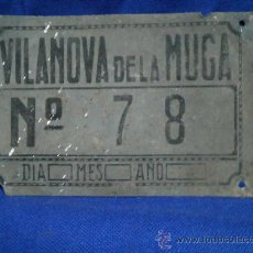 Coches y Motocicletas: MATRICULA DE CARRO DE VILANOVA DE LA MUGA GERONA/GIRONA. Lote 31922455