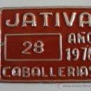 Coches y Motocicletas: CHAPA TASA DE RODAJE, CABALLERIAS 28, JATIVA 1976 (6,5X5CM APROX, SIN ESTRENAR). Lote 31944368