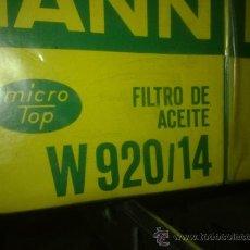 Coches y Motocicletas: FILTRO ACEITE MANN W920/14 NISSAN PATROL/VANETTE. Lote 32180001