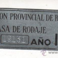 Coches y Motocicletas: PLACA O CHAPA DE LA DIPUTACIÓN PROVINCIAL DE BARCELONA TASA DE RODAJE AÑO 1948. Lote 32280934