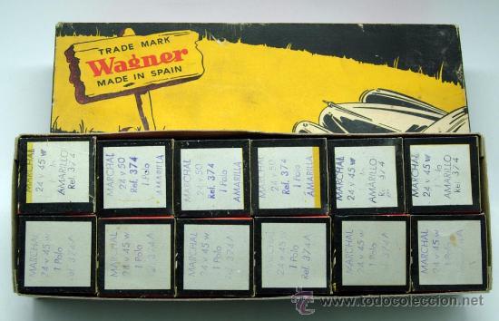 Coches y Motocicletas: Caja 12 lámparas bombillas Wagner Marchal amarilla 24 voltios 45 y 50 W 1 polo ref 374 sin uso - Foto 4 - 33627258