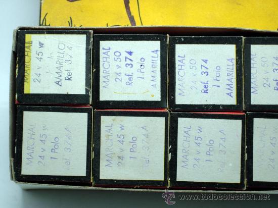 Coches y Motocicletas: Caja 12 lámparas bombillas Wagner Marchal amarilla 24 voltios 45 y 50 W 1 polo ref 374 sin uso - Foto 5 - 33627258