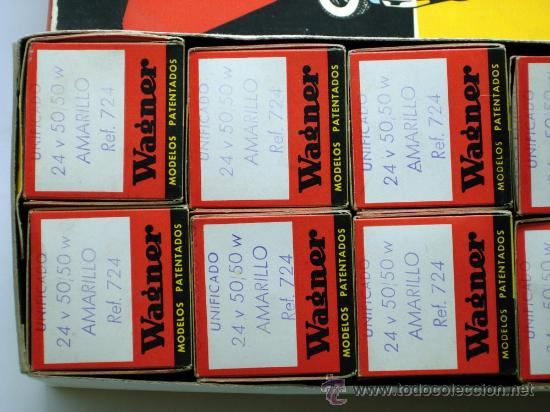 Coches y Motocicletas: Caja 12 lámparas bombillas Wagner Foco europeo unificado 24 voltios 50/50 amarillo Ref 724 sin uso - Foto 8 - 138781101