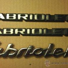 Coches y Motocicletas: ANAGRAMAS DE VW GOLF CABRIO Y PEUGEOT. Lote 33841596