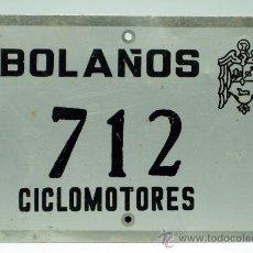 Coches y Motocicletas: CHAPA MATRÍCULA BOLAÑOS CICLOMOTORES 712 AÑOS 70. Lote 35493324