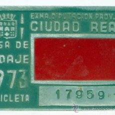 Coches y Motocicletas: CHAPA MATRÍCULA CIUDAD REAL BICICLETA TASA DE RODAJE 17959 1973. Lote 35493476