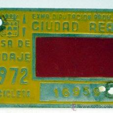 Coches y Motocicletas: CHAPA MATRÍCULA CIUDAD REAL BICICLETA TASA DE RODAJE 16959 1972. Lote 35493490