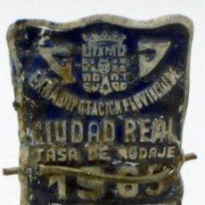 Coches y Motocicletas: CHAPA MATRÍCULA BICICLETA CIUDAD REAL 1965 TASA RODAJE 4898. Lote 35494792
