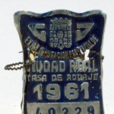 Coches y Motocicletas: CHAPA MATRÍCULA BICICLETA CIUDAD REAL 1961 TASA RODAJE 40229. Lote 35494859