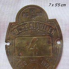Coches y Motocicletas: CHAPA ANTIGUA COCHE ALQUILER TAXI SEVILLA 1920. Lote 40532705