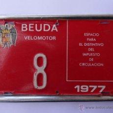 Coches y Motocicletas: ANTIGUA PLACA MATRICULA DE VELOMOTOR DE BEUDA GERONA 1977 ANTIGUO ESCUDO. Lote 41061541