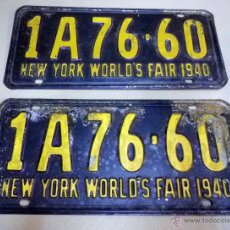 Coches y Motocicletas: 2 PLACAS, MATRICULAS, COCHE, AUTOMOVIL, NEW YORK, USA, 1940, ORIGINALES. Lote 44854141
