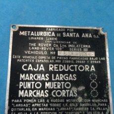 Coches y Motocicletas: LAND ROVER SANTANA - CHAPA INSTRUCCIONES DE LA CAJA REDUCTORA - AÑOS 60/70. Lote 98202711