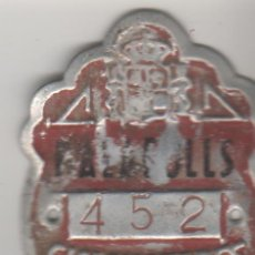 Coches y Motocicletas: CHAPA / PLACA MATRICULA CICLOMOTOR PALLAROLS 1984. Lote 49774664