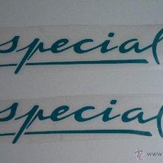 Coches y Motocicletas: PAREJA ADHESIVOS SPECIAL SEAT IBIZA Y SEAT MARBELLA COLOR AZÚL . Lote 136759254