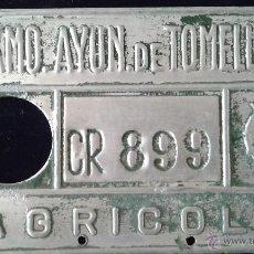 Coches y Motocicletas: CHAPA DE MATRICULA AGRICOLA, TOMELLOSO. Lote 51668136