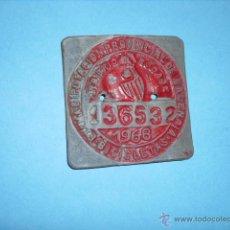 Coches y Motocicletas: MATRICULA PLACA DE BICICLETA 1968 DE DE VALENCIA. Lote 52477973
