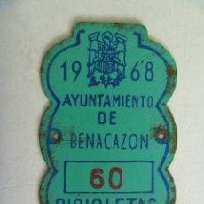 Coches y Motocicletas: PLACA DE BICICLETA DE 1968 . BENACAZON ( SEVILLA ) . CON AGUILA DE DE SAN JUAN , FRANCO. Lote 52896411